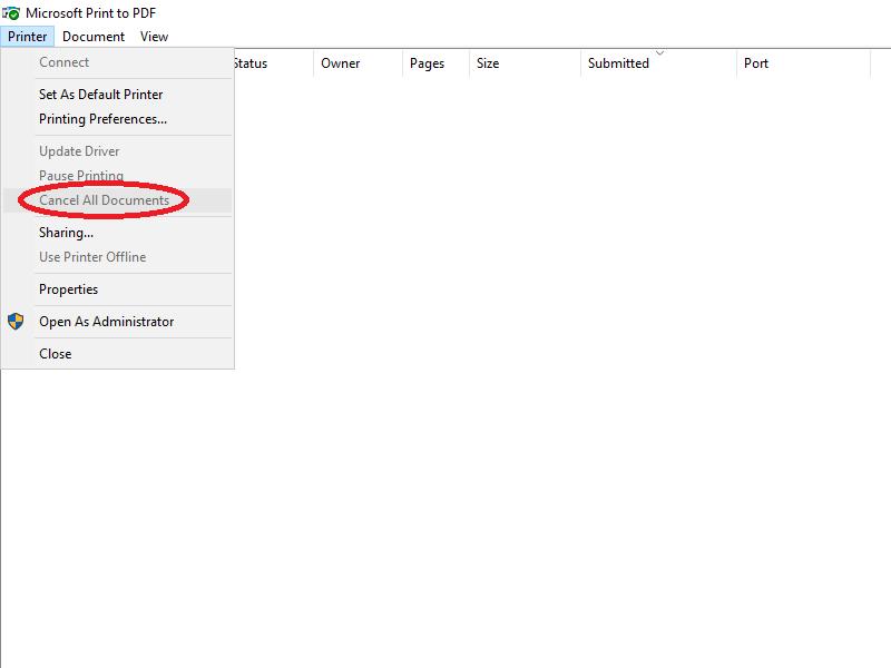 Chọn Cancel All Document để xóa tất cả tập tin đang in