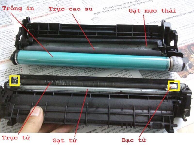 Hình ảnh trục cao su bên trong hộp mực của máy photocopy