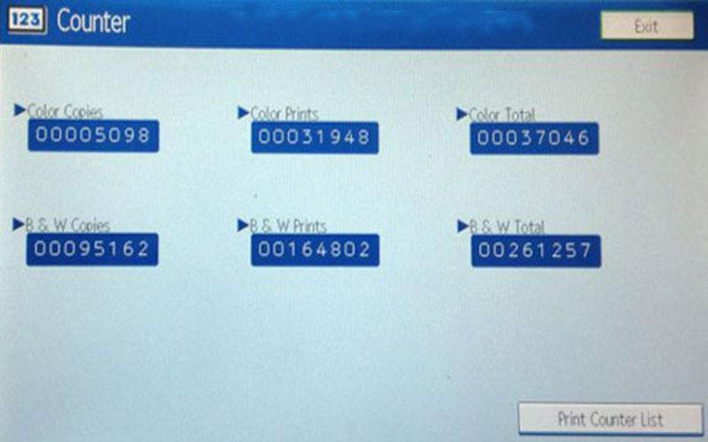 Kiểm tra số lượng bản inchụp của máy Photocopy Ricoh