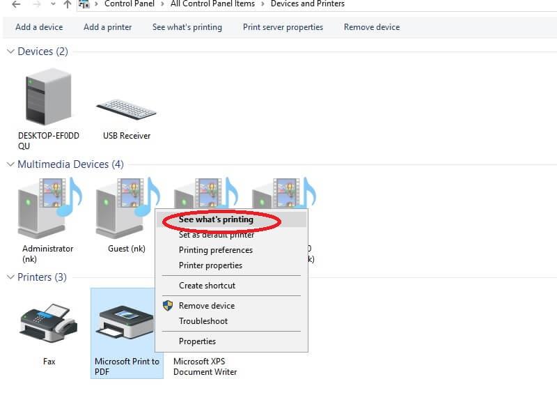 Chọn See what's printings để xem các file đang in
